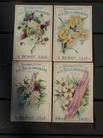 4 Chromos - Chicorée Extra, à La Belle Jardinière - C. BERIOT LILLE - Fleurs - Altri