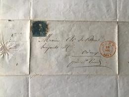 Lettre Départ De Gand Le 22 Décembre 1849 - Oblitération Timbre N° 2 Belgique - 1800 – 1899