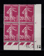 Coin Daté - YV 190 N** Semeuse Du 14.4.38 - ....-1929