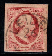 Pays-Bas 1852 Mi. 2 Oblitéré 100% Roi Guillaume III, 10 C - Usados