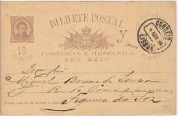 Portugal, 1886, Bilhete Postal Lisboa-Figueira Da Foz - Entiers Postaux
