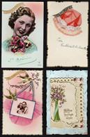 FANTAISIES: Joli Lot De 10 Cartes: 4 St Catherine ( Dont 2 Bonnets) 4 Bonne Année (dont 3 En Soie Brodée + Message) - Bordados