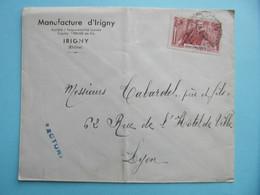 LETTRE ENTETE MANUFACTURE D'IRIGNY (RHONE) AFFRANCHIE TIMBRE JEAN JAURÉS 40c OBLITÉRATION CAD - 1877-1920: Periodo Semi Moderno