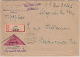 Böhmen & Mähren - Prag 1942 Nachnahme Postsache Einschreibebrief N. Birkenwerder - Cartas