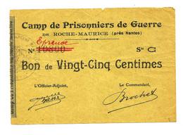 1914- 1918 // P.O.W. // Bon De Prisonnier De Guerre // (NANTES) ROCHE-MAURICE // Vingt Cinq Centimes // EPREUVE - Buoni & Necessità