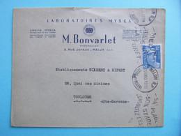 LETTRE ENTETE LABORATOIRES MYSCA BONVARLET PHARMACIEN À MELUN SEINE ET MARNE AFFRANCHIE GANDON 12F BLEU - 1877-1920: Semi Modern Period