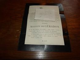 Lettre De Mort Auguste De Géradon Dcd Tournai 1888 Templeuve - Todesanzeige