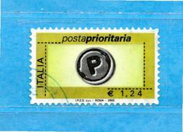 Italia °- 2003 - Posta Prioritaria. Val. € 1,24. Unif. 2767. Usato - 2001-10: Usados