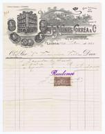 C9A) Fatura Alfaiataria J. NUNES CORRÊA & CIA R. Do Ouro Lisboa 1912 - Portugal