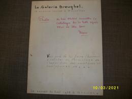 La Galerie Breughel - Av. Louise Bruxelles - Catalogue Du Vernissage De Août 1958 - Consuelo De Saint Exupery - Programme