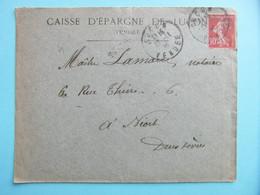 LETTRE ENTETE CAISSE D'EPARGNE DE LUCON VENDÉE AFFRANCHIE SEMEUSE 10c - 1877-1920: Periodo Semi Moderno