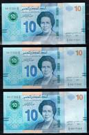 TUNISIA TUNISE -10 Dinars 2020 UNC-set Of 3 Notes-// Lot De 3 Billets De 10 Dinars - N° Consécutifs - Tunisia
