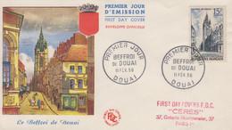 Enveloppe  FDC  1er Jour   FRANCE   Beffroi  De  DOUAI    1956 - 1950-1959
