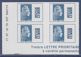 Marianne L'Engagée Europe X4 Bas De Feuille Adhésif N°1603 Neuf  Coin Daté 17.07.18 TD 207 546719 - 2018-... Marianne L'Engagée