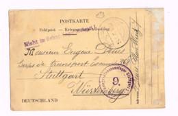 """Carte En Franchise.Expédiée De Namur à Stuttgart.""""Nicht Im Gefangenenlager Stuttgart 1"""".Censure. - Kriegsgefangenschaft"""
