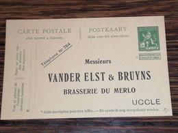 Entier Postal 5c Neuf /  Brasserie Du Merlo Uccle - Postcards [1871-09]