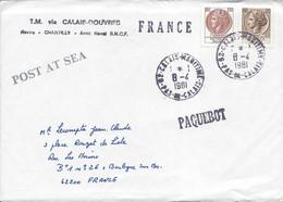 Timbres Italiens Annulés Cachet CALAIS MARITIME 1981 Griife Paquebot Ferry Chantilly Calais Douvres POST AT SEA - Schiffspost