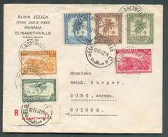 N°233-235-240-249-261-PA9 + (au Verso) N°228 (bloc De 4) Obl. Sc ELISABETHVILLE Sur Lettre Recommandée Du 12-6-1947 Vers - 1947-60: Lettres