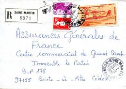 1 - GUADELOUPE Cachet Manuel SAINT MARTIN Recommandé 1990 - Covers & Documents
