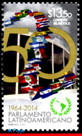 Ref. MX-2918 MEXICO 2014 FLAGS, 50TH ANNIV.OF THE LATIN, AMERICAN PARLIAMENT, LOGO, MNH 1V Sc# 2918 - México