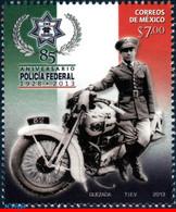 Ref. MX-2857 MEXICO 2013 POLICE, FEDERAL POLICE, 85TH, ANNIV., MOTORBIKE, MOTORCYCLE, MNH 1V Sc# 2857 - Mexico
