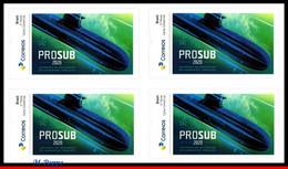 Ref. BR-V2020-54-Q BRAZIL 2020 SHIPS, BOATS, INTEGRATION OF THE, TONELERO SUBMARINE, BLOCK MNH, 4V - Blocks & Sheetlets