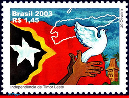 Ref. BR-2882 BRAZIL 2003 - HISTORY, INDEPENDENCE OF EAST, TIMOR, FLAGS, BIRDS, MAPS, MI# 3300,MNH,1V Sc# 2882 - Columbiformes