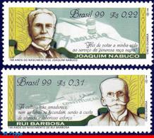 Ref. BR-2720-21 BRAZIL 1999 JUSTICE, RUI BARBOSA AND JOAQUIM, NABUCO, POLITICIAN, MI# 2953-54,SET MNH 2V Sc# 2720-2721 - Escritores