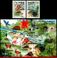 Ref. BR-2554-56 BRAZIL 1995 - BIRDS,LUBRAPEX,, PHIL.EXHIBITION,MI# 2664-65 B99,MNH, ANIMALS, FAUNA 2V Sc# 2554-2556 - Collections, Lots & Series