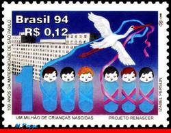 Ref. BR-2513 BRAZIL 1994 BIRDS, BABY CLINIC, MATERNITY,, HOSPITAL, MI# 2614, MNH 1V Sc# 2513 - Storks & Long-legged Wading Birds
