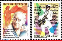 Ref. BR-2425-26 BRAZIL 1993 FAMOUS PEOPLE, VINICIUS & PIXINGUINHA,, COMPOSERS, MUSIC, MI# 2550-51,MNH 2V Sc# 2425-2426 - Otros