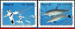 Ref. BR-2352-53 BRAZIL 1992 BIRDS, FAUNA OF FERN.DE NORONHA, ISLAND, DOLPHINS, MI# 2455-56, SET MNH 2V Sc# 2352-2353 - Dolphins