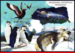 Ref. BR-2235 BRAZIL 1990 ANIMALS, FAUNA, ANTARCTIC RESEARCH, PROGRAM, BIRDS, PENGUIN, MI# B82, MNH 1V Sc# 2235 - Penguins