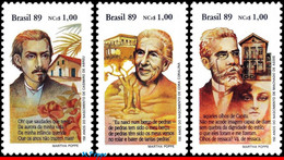 Ref. BR-2211-13 BRAZIL 1989 FAMOUS PEOPLE, BOOK DAY, WRITERS, ASSIS,, ABREU, CORALINA,MI# 2326-28,MNH 3V Sc# 2211-2213 - Escritores