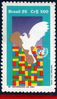 Ref. BR-2032 BRAZIL 1985 UNITED NATIONS, UN, 40TH ANNIV., DOVE OF, PEACE, BIRDS, MNH 1V Sc# 2032 - Unused Stamps