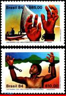 Ref. BR-1902-03 BRAZIL 1984 SHIPS, BOATS, PRECURSORS OF ABOLITION, SLAVERY, HISTORY, MNH 2V Sc# 1902-03 - Nuevos