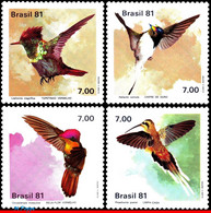 Ref. BR-1739-42 BRAZIL 1981 BIRDS, HUMMINGBIRDS, ANIMALS &, FAUNA, MI# 1823-26, SET MNH 4V Sc# 1739-1742 - Hummingbirds
