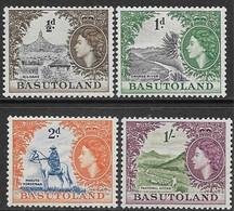 Basutoland   1954    Sc#46-8, 52  4 Diff QEII  MH   2016 Scott Value $3.90 - Ungebraucht