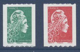 N° 1601 & 1602 Marianne D'Yz Adhésif Roulette Année 2018 Faciale LV+LP - Luchtpost