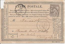 DORDOGNE (23)  CARTE POSTALE OBLI  DAGLAN Sur  SAGE (écorné) Pour BROUSTE COMMUNE DE STE FOY Par BELVES - 1849-1876: Classic Period