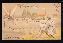 Künstler-Ansichtskarte Der Maler Und Das Meer Mit Fischerbooten, Gelaufen 1900 - Zonder Classificatie