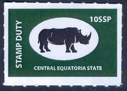 SOUTH SUDAN 10 SSP Revenue / Fiscal Stamp Central Equatoria State RHINO Timbres Fiscaux Soudan Du Sud - South Sudan