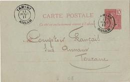 INDOCHINE - ENTIER POSTAL DE TAM KY A DESTINATION DE TOURANE - Briefe U. Dokumente