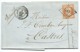 N° 16 ORANGE NAPOLEON SUR LETTRE / CARCASSONNE POUR CASTRES / 7 OCT 1855 - 1849-1876: Klassik