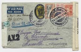 THAILAND 50SGT+ 2CTS LETTRE COVER AIR MAIL BANGKOK 24.10.1940 TO FRANCE CENSURE HONG KONG + FRANCE RARE - Thailand