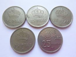 Lot De 5 - Espagne Espana - 25 Pesetas 1975 (x2) & 1982 (x3) - Juan Carlos Et Coupe Du Monde De Foot Pièce Monnaie Coin - 25 Pesetas