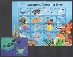 PK074 1998 GHANA MARINE LIFE INTERNATIONAL YEAR OF THE OCEAN UNESCO 1SH+1BL MNH - Vita Acquatica