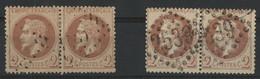 N° 26 A + 26 B PAIRES Cote 230 € 2 Ct Types I Et II Et Deux Nuances Différentes (voir Description) - 1863-1870 Napoléon III Lauré