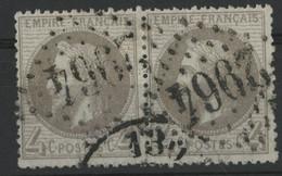 """N° 27 A B Paire Cote 210 € 4 Ct Gris-lilas Oblitération GC """"2964"""" (Pontarlier) - 1863-1870 Napoléon III Lauré"""