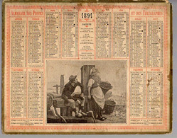 CALENDRIER GF 1891 - INDECISION, Tableau De Villeroy, Imprimeur Oberthur Rennes - Big : ...-1900